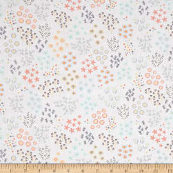 Timeless Treasures Lily Mini Garden Floral White Fabric