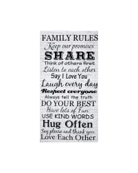 Timeless Treasures 24'' Family Rules Panel Dove Fabric