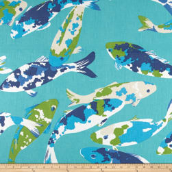 P Kaufmann Indoor/Outdoor Koi Turquoise Fabric