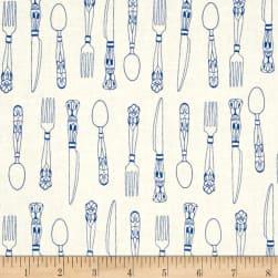 Cotton + Steel Bluebird Cutlery Ivory
