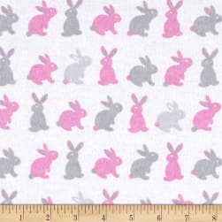 Flannel Cute Bunny Pink/Grey