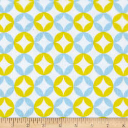 Flannel Floral Mosaic Blue Yellow Fabric