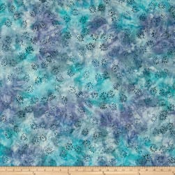 Wilmington Batik Dancing Leaves Stillwater Blue Fabric