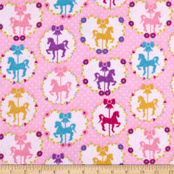 Sweet Horse Carousel Flannel Pink Fabric