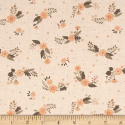 Flourish Flowers Light Peach Fabric