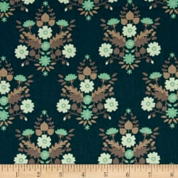 Flourish Floral Damask Dark Teal Fabric