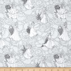 Disney Princess Line Drawing Grey