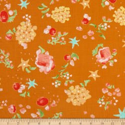 Kaufman Woodland Clearing Scattered Flowers Copper Fabric
