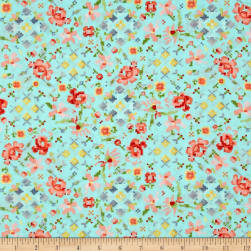 Kaufman Woodland Clearing Digital Floral Turquoise