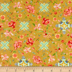 Kaufman Woodland Clearing Digital Floral Ochre Fabric