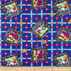 Dog Plaid Flannel Royal Fabric