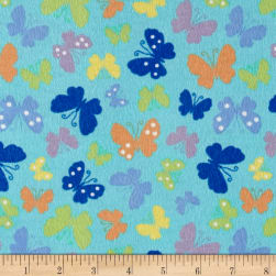Pretty Wings Flannel Turquoise Fabric
