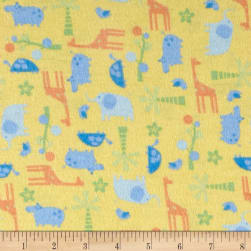 Tiny Zoo Flannel Yellow Fabric