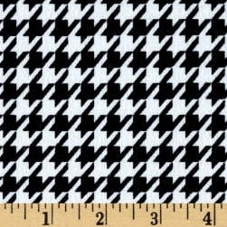 Flannel Houndstooth Black Fabric