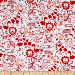 Flannel Jungle Line Art White Fabric