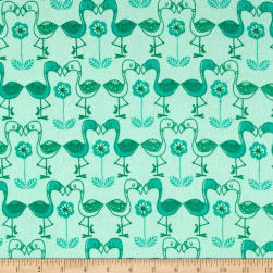 Flannel Flamingo Kisses Aqua Fabric