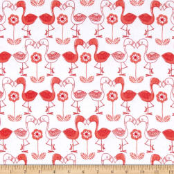 Flannel Flamingo Kisses White Fabric