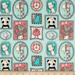 Flannel Jungle Frames Aqua Fabric