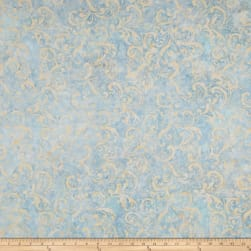 Garden Oasis Balis Vine Scroll Blue/Pearl Fabric