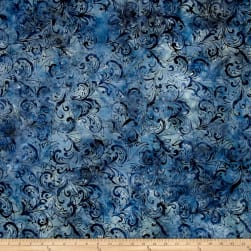 Garden Oasis Balis Vine Scroll Navy Fabric
