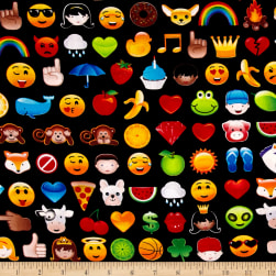 Timeless Treasures Colored Faux Emojis Black Fabric