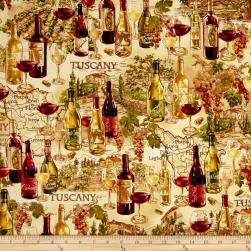 Timeless Treasures Vineyard Map Tan