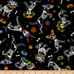 Timeless Treasures Day of Dead Pups Black Fabric