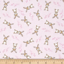 Timeless Treasures Starry Night Forest Tossed Bunnies Pink