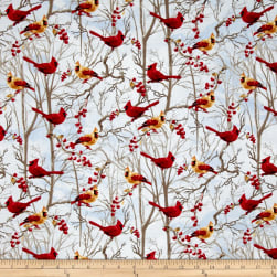 Timeless Treasures Winter Flurries Red Birds Snow