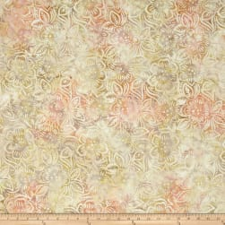 Wilmington Batiks Dancing Flowers Ivory/Pink Fabric
