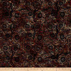 Wilmington Batiks Dancing Flowers Black/Brown