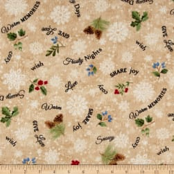 Timeless Treasures Winter Memories Flannel Word Toss Beige