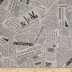 "Story 108"" Wide Quilt Back News Print Black And White"