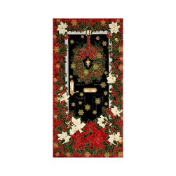 "Timeless Treasures Glamourous Holiday 24"" Christmas Panel Red"