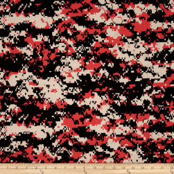 Urban Camouflage Coral Black Fabric