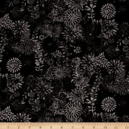 "44"" Wide Quilt Packed Floral Black"