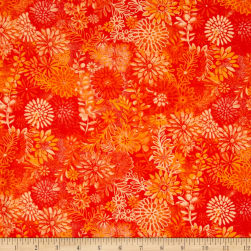 "44"" Wide Quilt Packed Floral Orange"