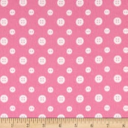 Ric Rac Paddywack Flannel Pink Buttons Fabric