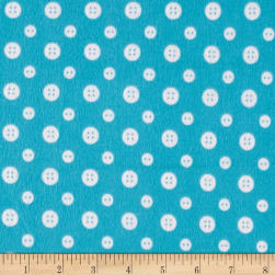 Ric Rac Paddywack Flannel Aqua Button Fabric