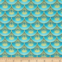 Rhapsody In Blue Metallic Fan Fare Blue Fabric