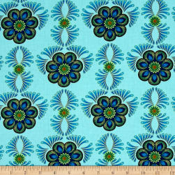 Rhapsody In Blue Metallic Feather Medallion Mint Fabric