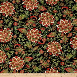 Noel Metallic Jacobean Black Fabric