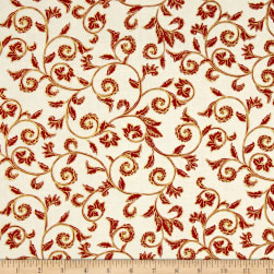 Noel Metallic Scroll Cream/Red Fabric