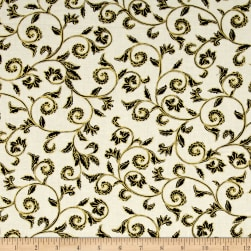 Noel Metallic Scroll Cream/Black Fabric