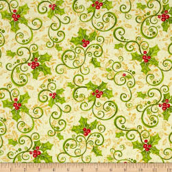 Mistletoe Metallic Holly Silver Fabric