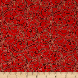Joyful Metallic Festive Scroll Red Fabric