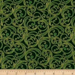 Joyful Metallic Festive Scroll Green Fabric
