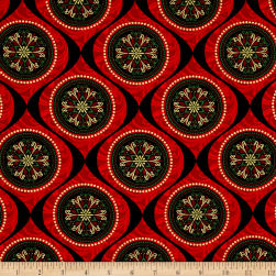 Joyful Metallic Ornamental Medallion Red Fabric