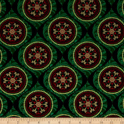 Joyful Metallic Ornamental Medallion Green Fabric