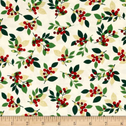 Joyful Metallic Holiday Berry Cream Fabric